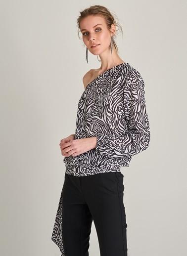 Ng Style Leopar Zebra Mix Desenli Bluz Beyaz